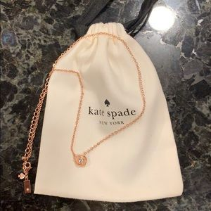 Kate Spade rose gold tone crystal pendant necklace
